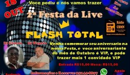 Dia 18 De Outubro Tem 2a. Edição da Festa Flash Total No Antigo São Paulo Chic